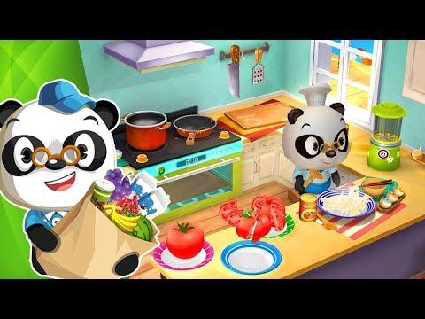 Dibujos animados para ni os oso panda en el restaurante - Dibujos de pared para ninos ...