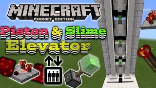 Piston Elevator In Mcpe  Mcpe Redstone  Slime Block Elevator Showcase