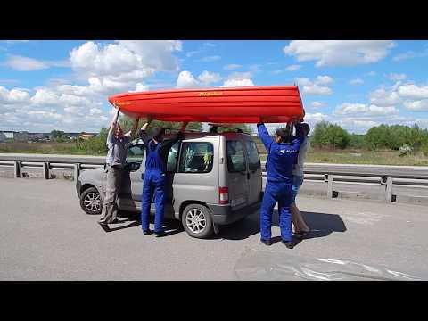 видео: погрузка лодки Лиман 350 на багажник автомобиля-часть 1