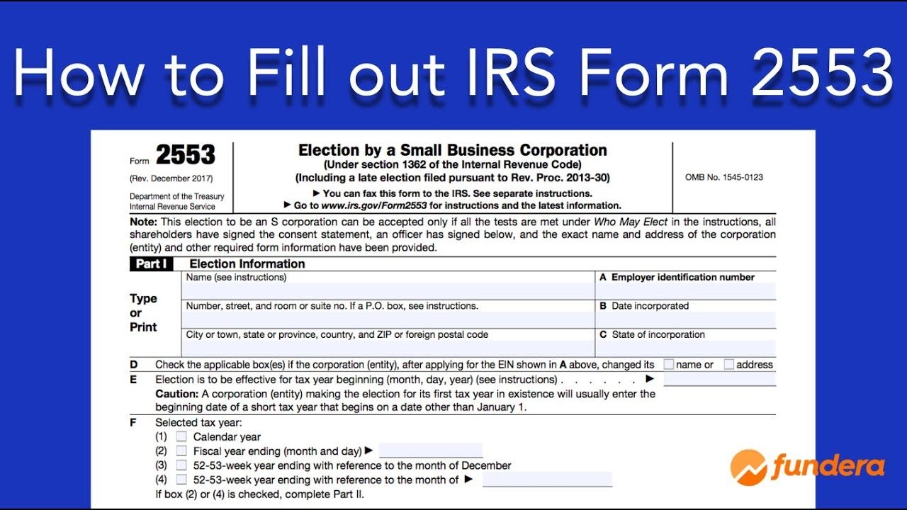 Form 2553 how to fill out irs form 2553: easy-to-follow instructions