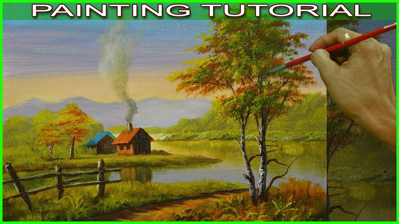 Acrylic Landscape Painting Tutorial Autumn Houses Near The