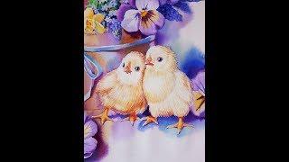Уроки рисования акварелью. Как нарисовать цыплят акварелью