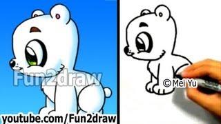 How to Draw a Cartoon Polar Bear - How to Draw Easy things Animals - Fun2draw Cute Chibi