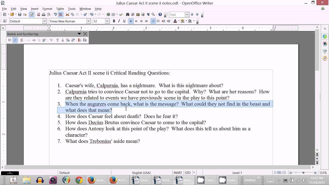 Julius Caesar Act Ii Scene Ii Critical Reading Questions