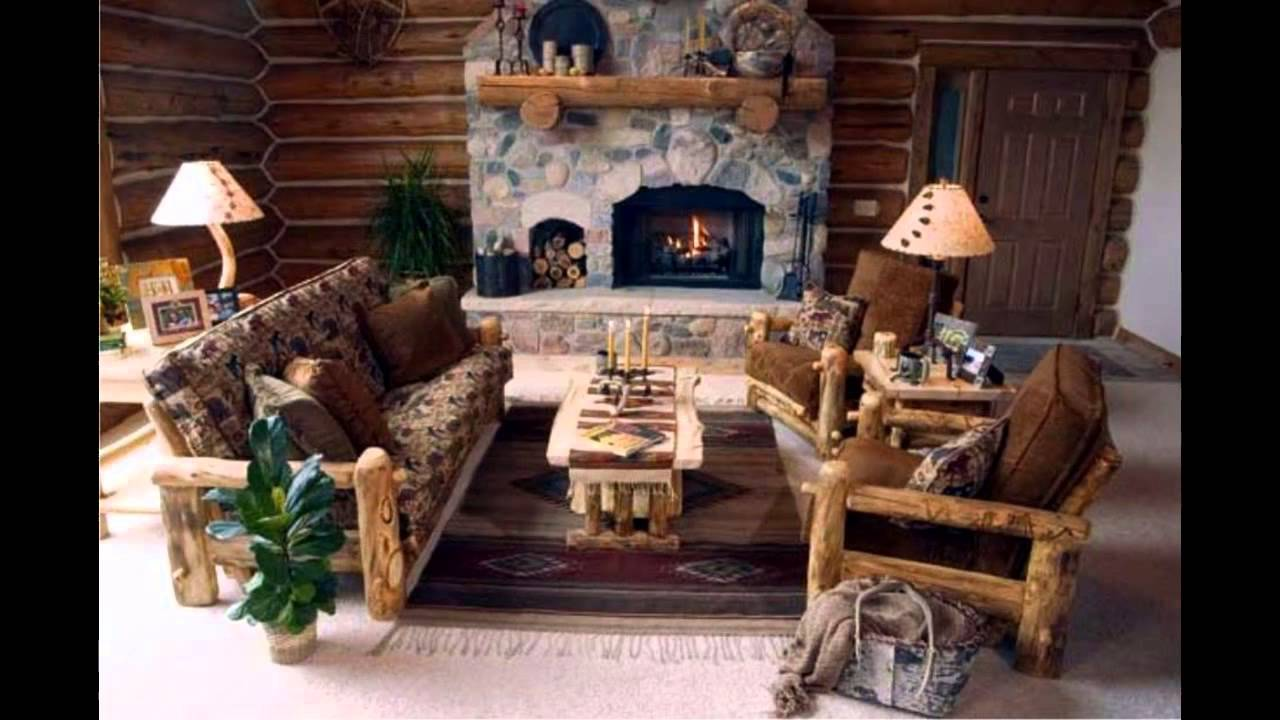 log home living room decorating ideas modern table decor fascinating cabin youtube