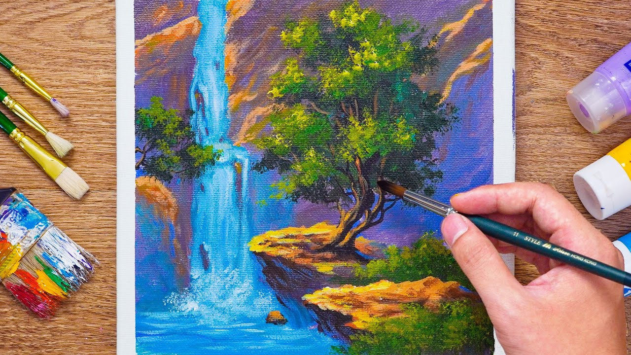 Easy Waterfall Landscape Painting for beginners -  Daily Art 104
