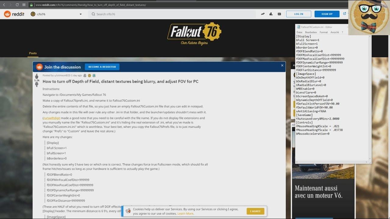 + Fallout 76 + Ini Tweak / Mod Guide + Disable Depth of Field, Blurriness &  Adjust FOV + PC +