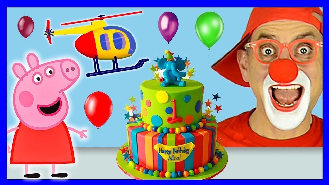 Peppa Pig birthday | Funny clown & helicopter cartoon