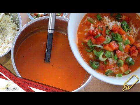Paprikasuppe mit Bulgur – Reis, Einfaches, veganes und schnelles Rezept zum selber machen