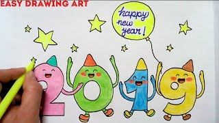 How To Make New Year Greeting Card Drawing For Kids Youtube