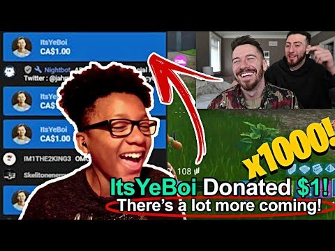 Donating $1000 $1 At a Time To Random Fortnite Streamers on YouTube!! *1000 DONATIONS*