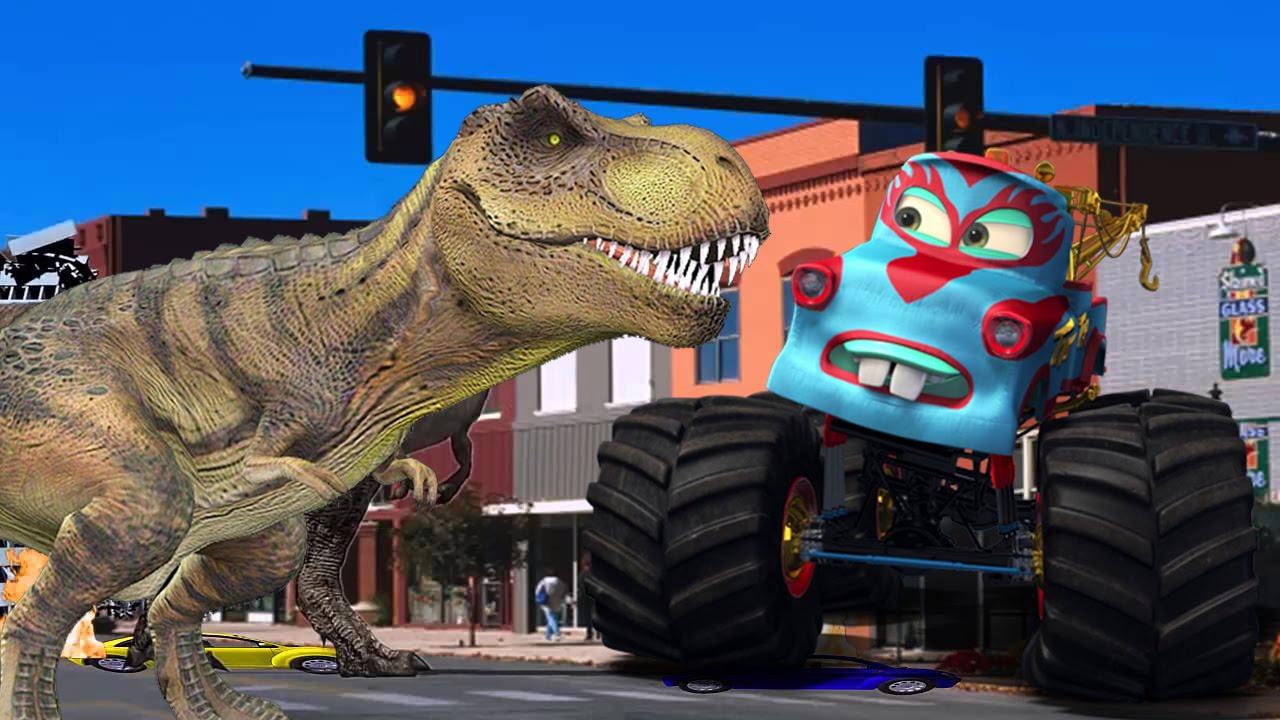Dinosaurs Cartoons For Children Monster Truck Vs Dinosaurs Monster Truck Dinosaur For Kids Youtube