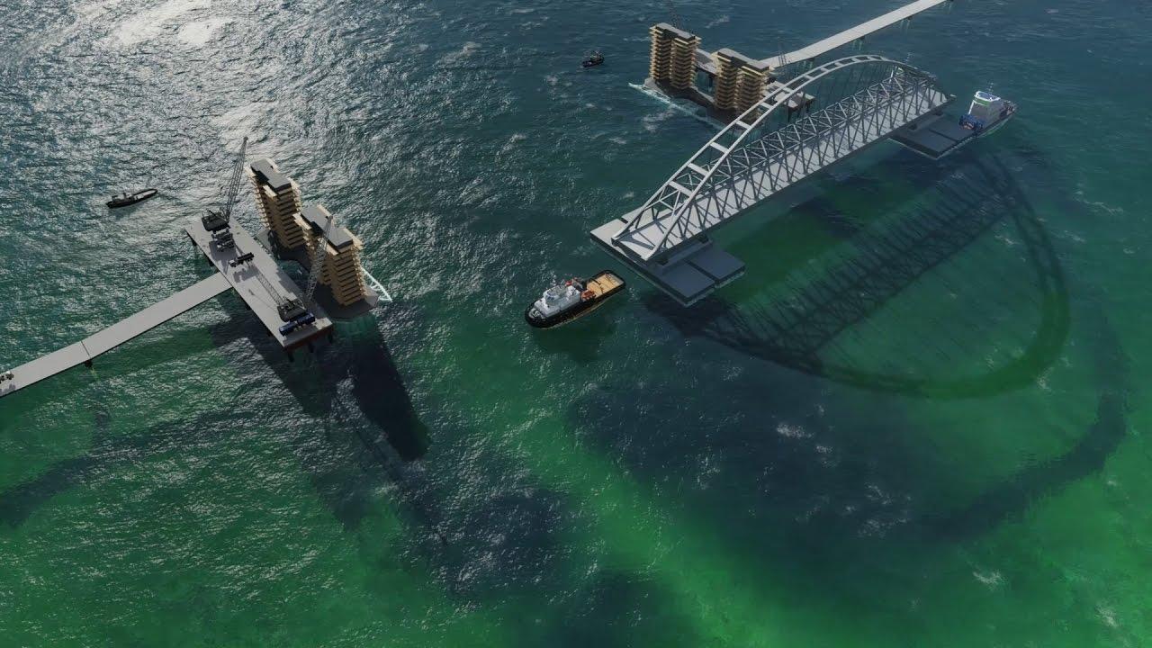 Смоделирована установка судоходных арок Керченского моста