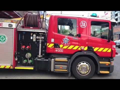 Metropolitan Fire Brigade Engine 2A Coming Out Of Station 1 In Melbourne, Victoria, Australia