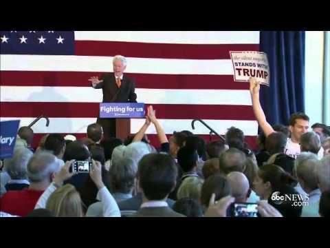 Bill Clinton Grapples With Trump Protester at Florida Rally