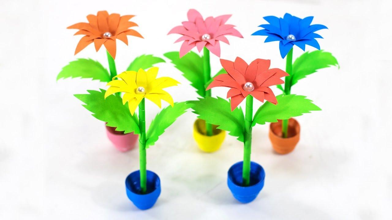 Diy Small Paper Flower Pot Miniature Vase Handmade Craft Home Decor Paper Craft