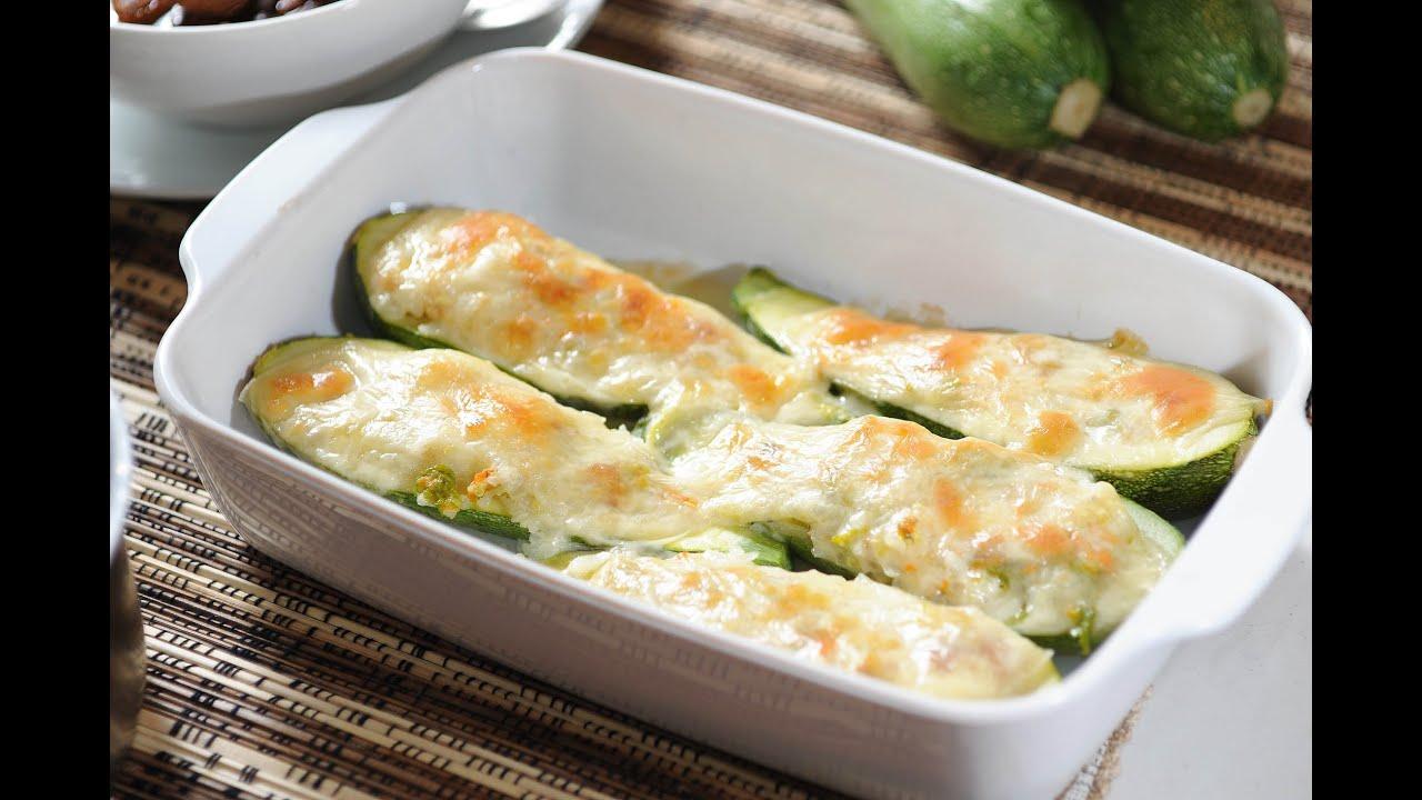 Calabacitas rellenas horneadas stuffed zucchini for Que cocinar con verduras