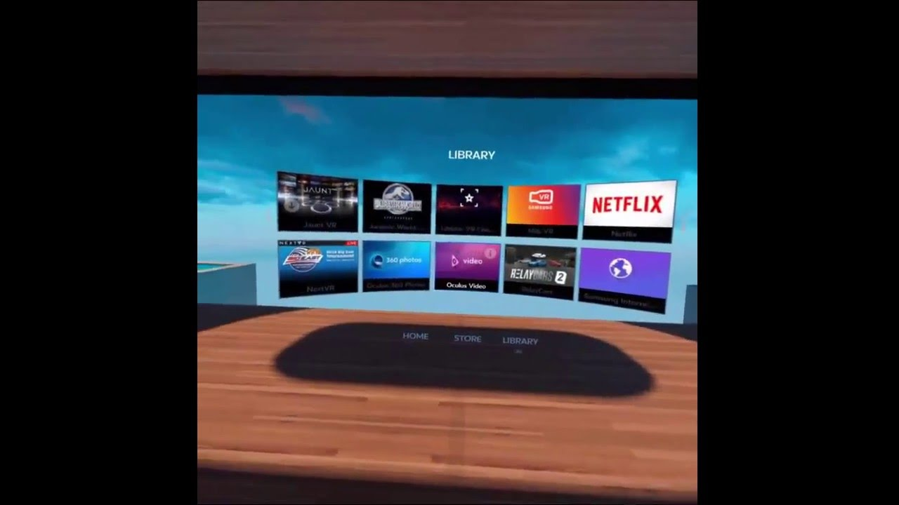 Home screen of the gear vr main menu youtube for Vr for home