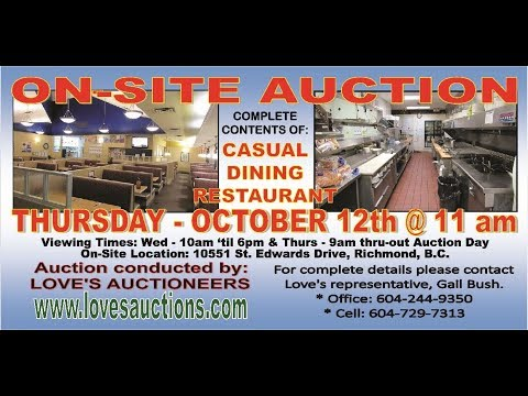 LOVE'S AUCTIONS - On-Site Auction - October 12th @ 11 am