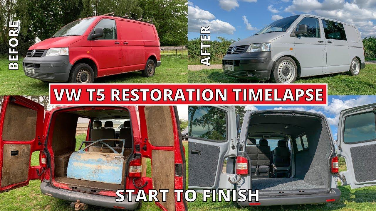 RESTORING A VW T5 In 10 MINUTES Conversion Restoration Volkswagen Transporter Camper Van Conversion