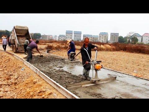Строительство дороги в Китае. Бетонные работы. Технология и оборудование.
