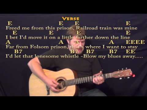 Folsom Prison Blues - Strum Guitar Cover Lesson with Lyrics/Chords