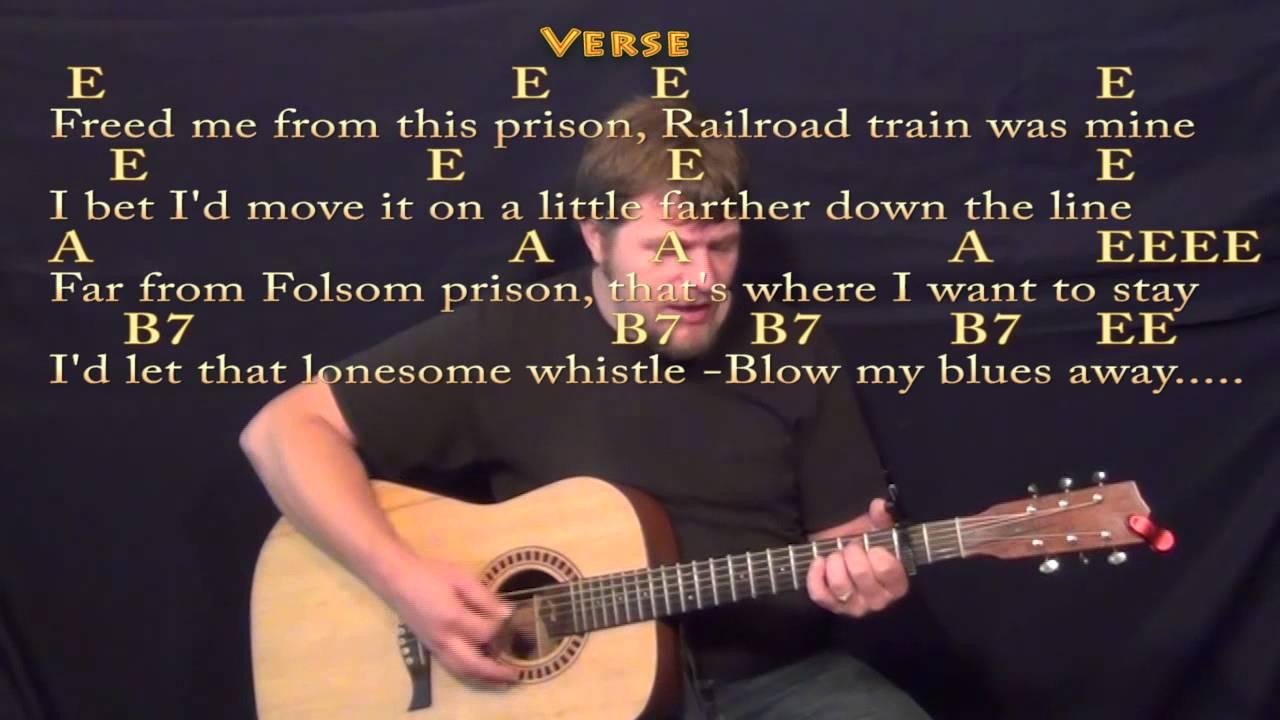 Folsom Prison Blues Johnny Cash Strum Guitar Cover Lesson with  Lyrics/Chords