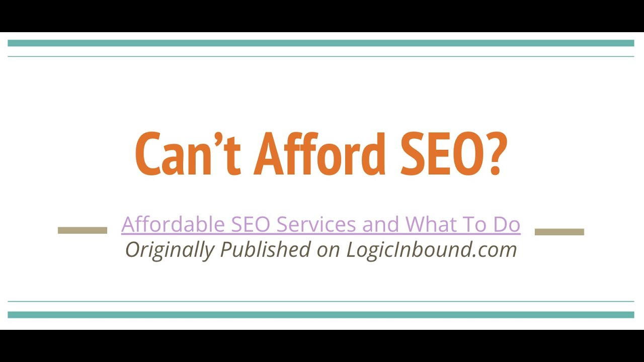 Can't Afford SEO? Here's What to Do