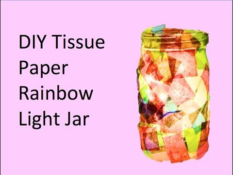 DIY Tissue Paper Rainbow Light Jar