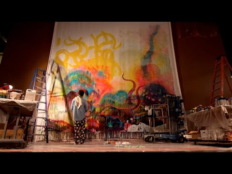 """Clowes Memorial Hall's Monumental Canvas - Phil O'Malley's """"Deep Down"""" Giant Painting"""