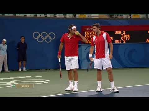 Federer&Wawrinka vs Bryan&Bryan Olympic Games 2008 doubles semifinal