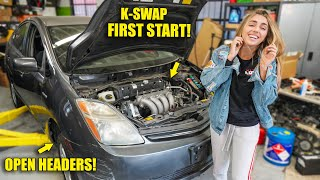 FIRST START on Honda K- Series Swapped PRIUS! Open Headers RIPS!!!