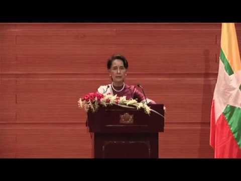 Aung San Suu Kyi made her first public speech on the violence in Rakhine.