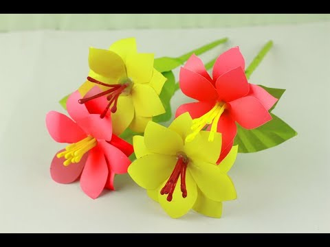 How to make hibiscus paper flower | Easy origami flowers for beginners making | SoAm Crafts