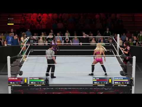 WWE 2K17 Eve Torres & Jacqueline vs. Nix Jax & Charlotte Flair (Online Ranked Match USPS4)