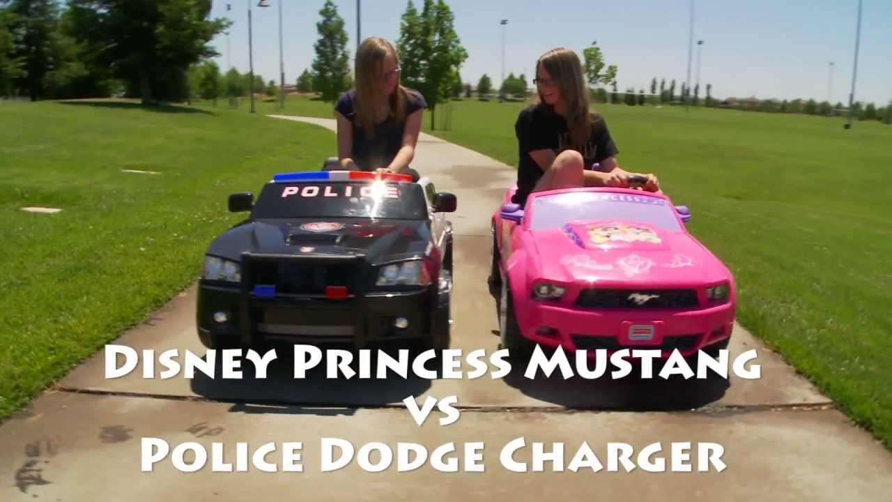 Power Wheels Race  Dodge Charger vs Disney Princess Mustang  YouTube