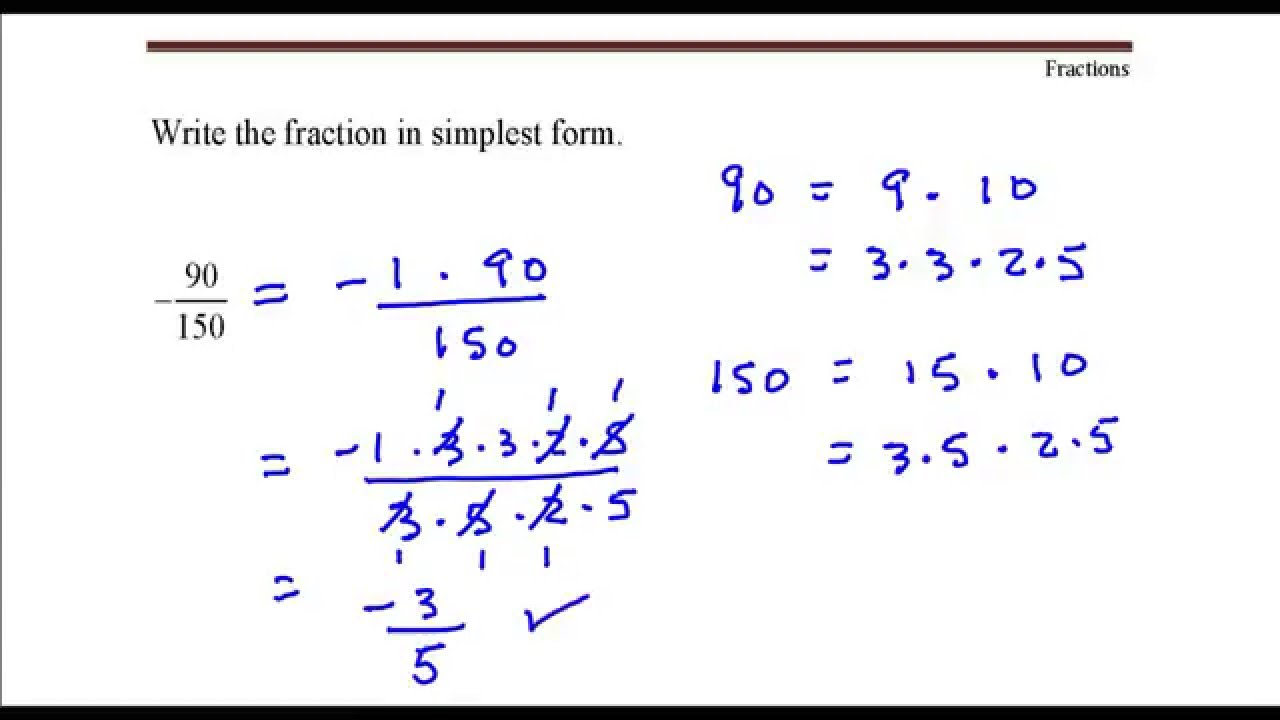 Write the fraction in simplest form. 90 divided by 150 - Youtube ...