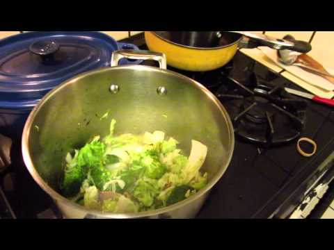 Cooking - stir fry broccoli, cabbage and salad