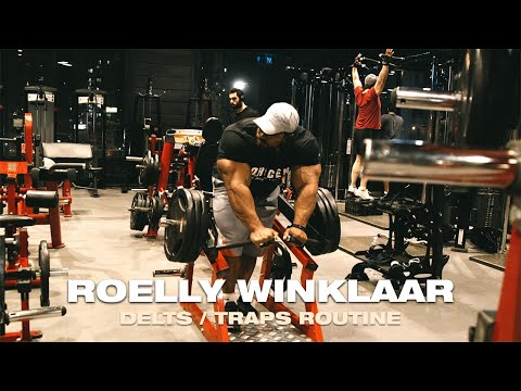 2019 Roelly Winklaar Shoulders and Traps Routine In Oxygen Gym Kuwait with Coach Ahmad Askar
