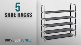 Top 10 Shoe Racks [2018]: Songmics 5 Tier Shoe Rack Standing Storage Organizer for 25 pairs of