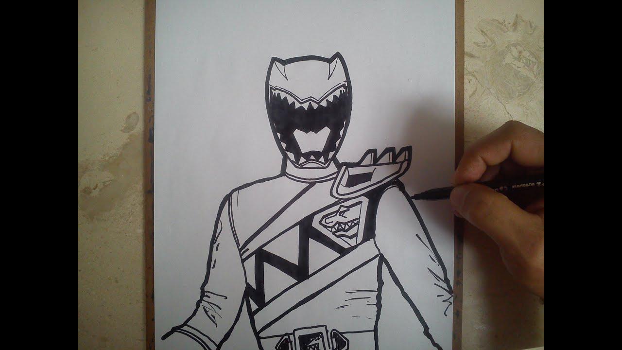 COMO DIBUJAR POWER RANGER ROJO - DINO CHARGE / how to draw ...