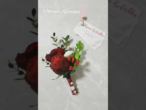 Свадебный букет, роза red piano и пионы