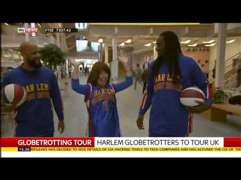 Kay Burley meets the Harlem Globetrotters at Sky News Studios