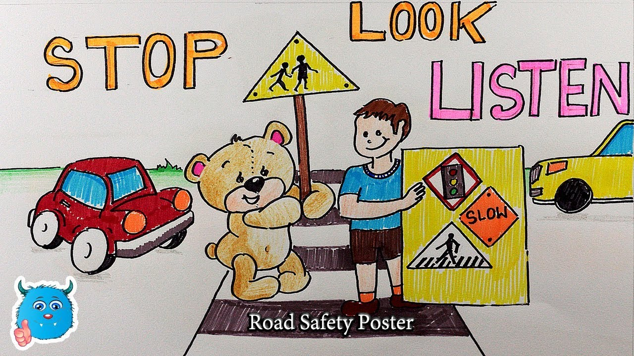 Drawing Road Safety Poster