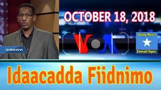 Idaacadda Fiidnimo, VOA Somali News - Night, October 18, 2018