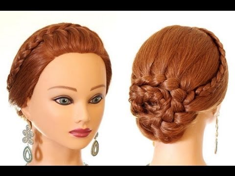 Braided hairstyle for long hair. Updo hairstyles - YouTube