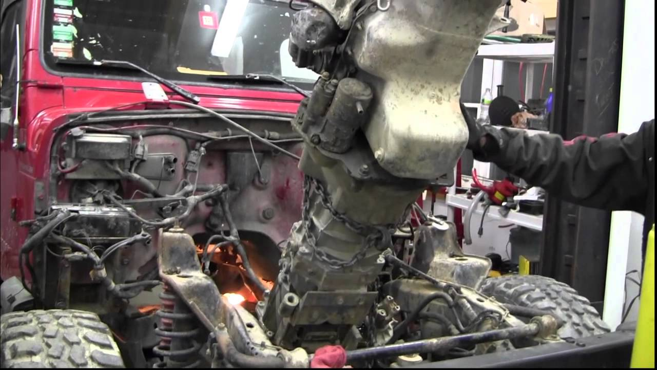 Jeep project V8 swap 4 pulling the old engin - YouTube