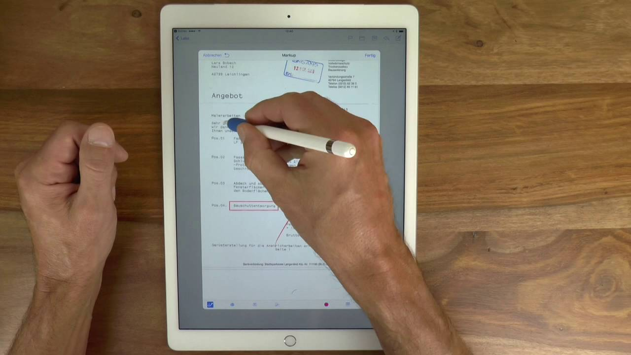 Apple Pencil Pdf Dokumente Direkt In Der Apple Mail App Annotieren