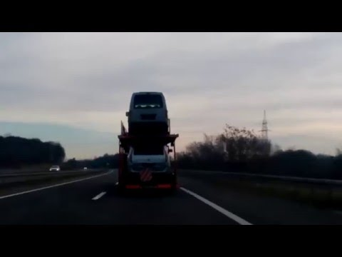 Zagreb Highway:Passing auto transporter truck 2