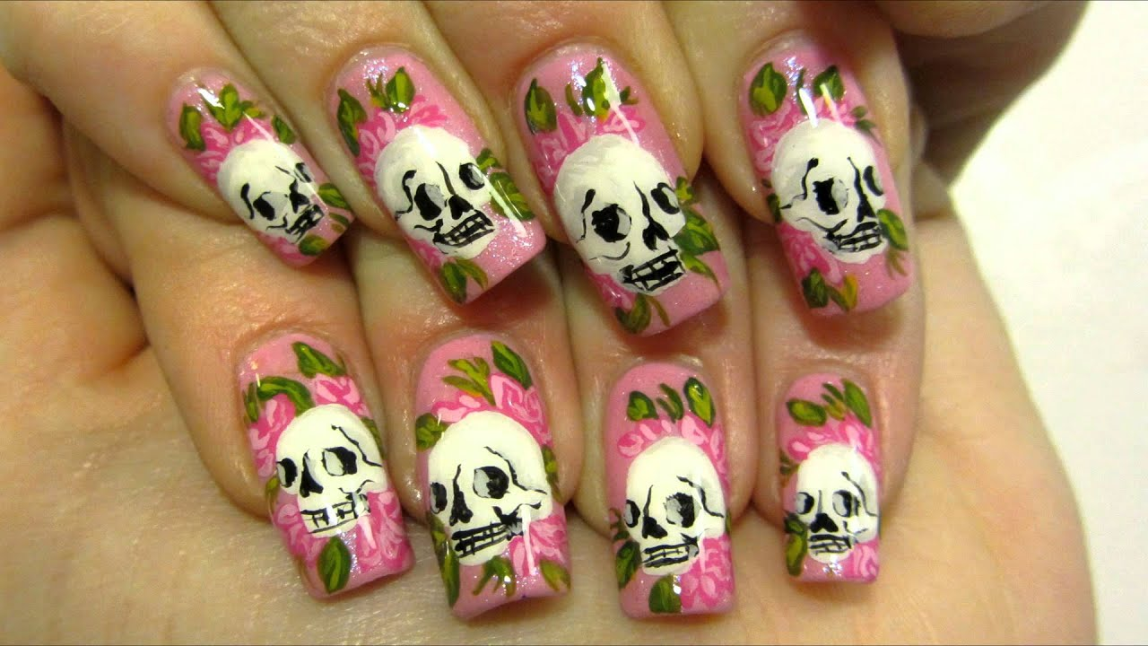 Y Ed Hardy Inspired Tattoo Design With Skulls And Roses Nail Art Tutorial